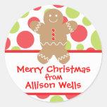 Polka Dot Gingerbread Man Christmas Gift Sticker