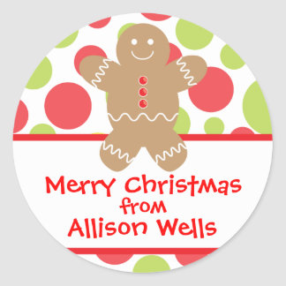 Polka Dot Gingerbread Man Christmas Gift Sticker