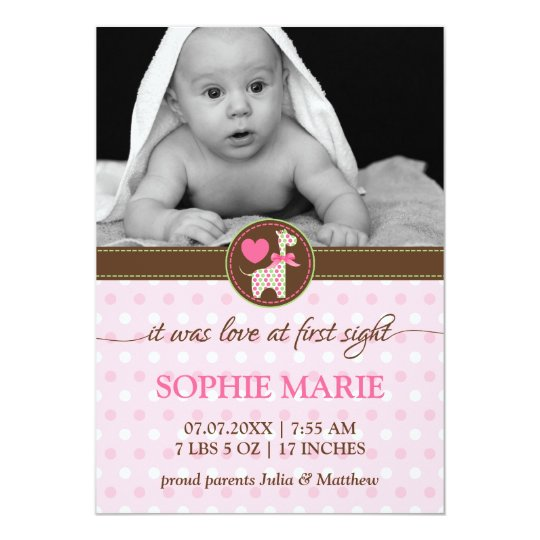 Polka Dot Giraffe Baby Photo Birth Announcement