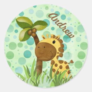 Polka Dot Giraffe Round Sticker