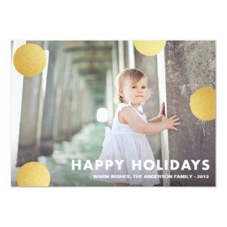 POLKA DOT GOLD   HOLIDAY PHOTO CARD 13 CM X 18 CM INVITATION CARD