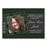 Polka Dot Graduation Invitation (Black And Green)