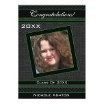 Polka Dot Graduation Invitation (Black And Green) 13cm X 18cm Invitation Card