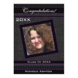 Polka Dot Graduation Invitation (Black And Purple) 13cm X 18cm Invitation Card