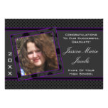 Polka Dot Graduation Invitation (Black And Purple)