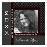 Polka Dot Graduation Invitation (Black And Red)