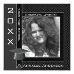 Polka Dot Graduation Invitation (Black And White) 13 Cm X 13 Cm Square Invitation Card