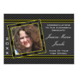 Polka Dot Graduation Invitation (Black And Yellow) 13 Cm X 18 Cm Invitation Card