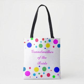Polka Dot Grandmother of Bride Wedding Tote Bag