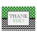 Polka Dot Green & Chevron Thank You Card