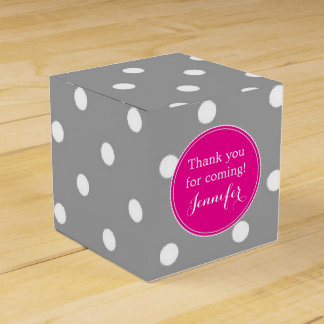 Polka dot grey and pink cute glamour modern favour box