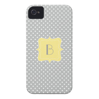 Polka Dot Grey and Yellow Monogram iPhone 4 Case-Mate Cases