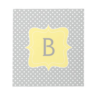 Polka Dot Grey and Yellow Monogram Notepad