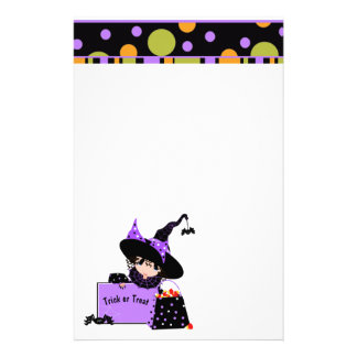 Polka Dot Halloween Witch and Candy Stationery
