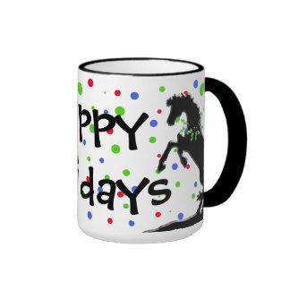 Polka Dot Heart Horses (Holiday) Ringer Mug