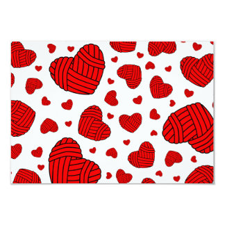 Polka Dot Heart Shaped Balls of Yarn (Red) Card