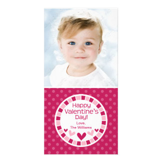 Polka Dot Hearts Pink Valentine s Day Personalized Photo Card
