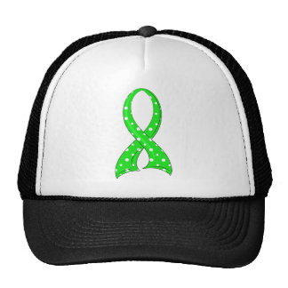 Polka Dot Lime Green Ribbon Lyme Disease Mesh Hats