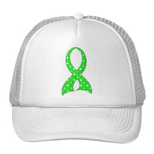 Polka Dot Lime Green Ribbon Non-Hodgkin's Lymphoma Hat