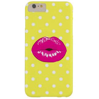 Polka dot lips fashion glamour elegant yellow barely there iPhone 6 plus case