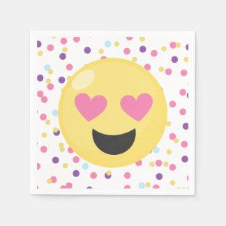 Polka Dot Love Emoji Paper Party Napkins Paper Serviettes