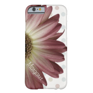 Polka Dot Marsala Wine Daisy Custom Name Barely There iPhone 6 Case