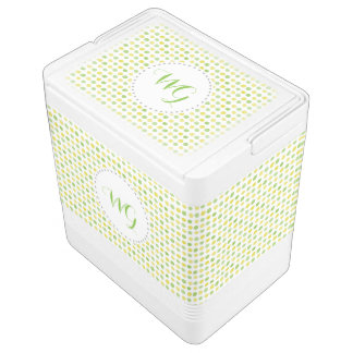 Polka Dot Monogram Green Bay Tailgate Cooler Igloo Cooler