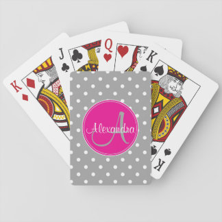 Polka dot monogram initial name elegant grey playing cards