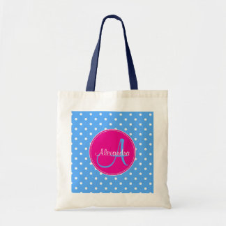 Polka dot monogram initial name pattern blue pink tote bag