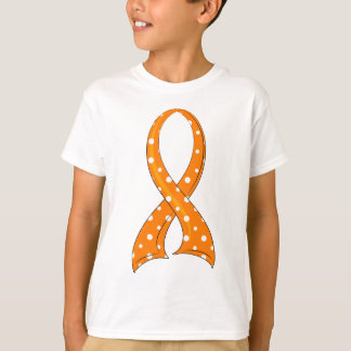 Polka Dot Orange Ribbon Leukemia T-Shirt
