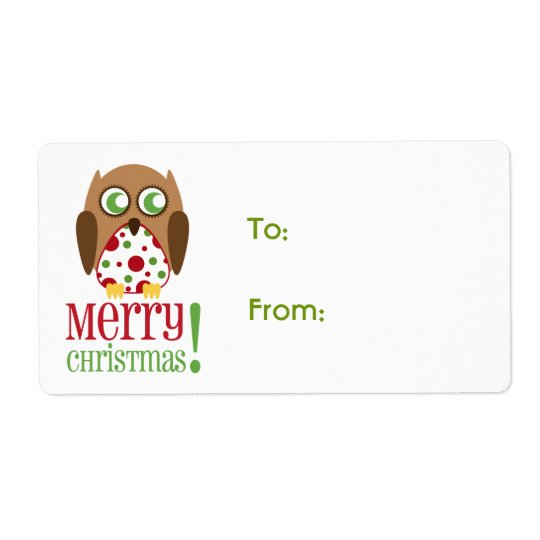 Polka Dot Owl Christmas Gift Label