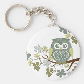 Polka Dot Owl in Tree Basic Round Button Key Ring