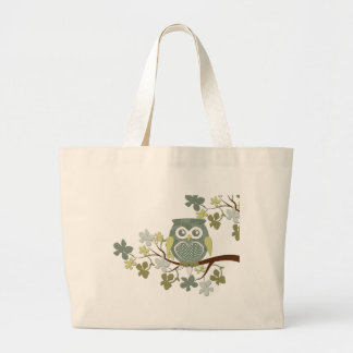Polka Dot Owl in Tree Large Tote Bag