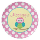Polka Dot Owl - Personalised Melamine Plate