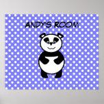 Polka dot panda room poster