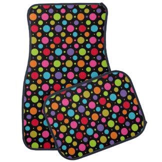 Polka Dot Party Black Car Mat Set