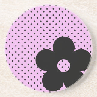 Polka Dot Party Flower in Pink Coasters