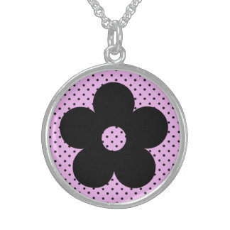Polka Dot Party Flower in Pink Sterling Silver Necklaces