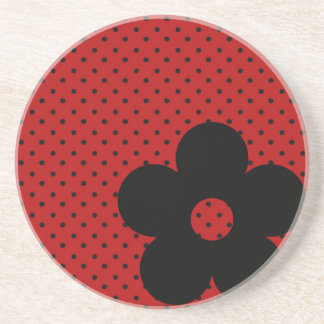 Polka Dot Party Flower in Red Coasters