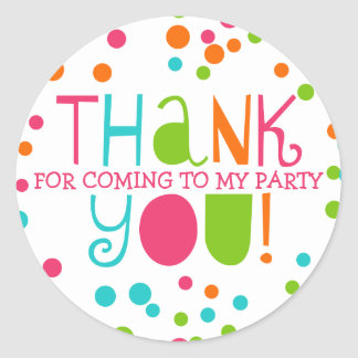 Polka Dot Party Hooray Thank You Favor Sticker