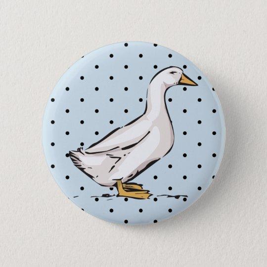 Polka Dot Pattern Duck Baby Blue Round Button