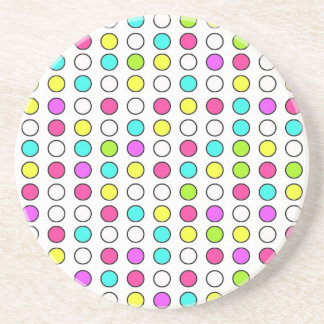 Polka Dot Pattern Pink Teal Lime Green Yellow Drink Coaster