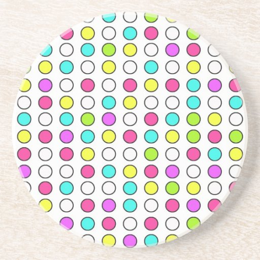 Polka Dot Pattern Pink Teal Lime Green Yellow Drink Coaster