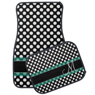 Polka Dot Pattern with Monogram Car Mat