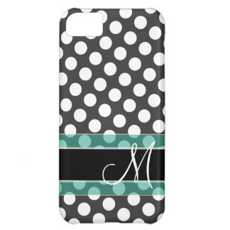 Polka Dot Pattern with Monogram iPhone 5C Case