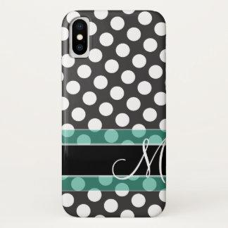 Polka Dot Pattern with Monogram iPhone X Case