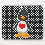 Polka Dot Penguin Mouse Pad