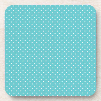 Polka dot pin dots girly chic blue pattern coaster