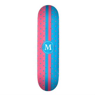 Polka Dot Pink and Blue _ Monogram Skate Board Decks