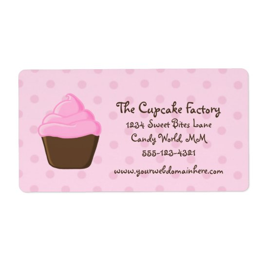 Polka Dot Pink and Brown Cupcake Shipping Label